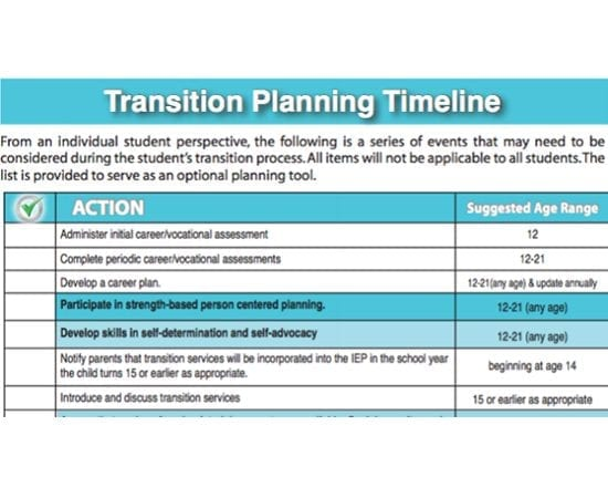 Transition Planning Timeline (Checklist Form)